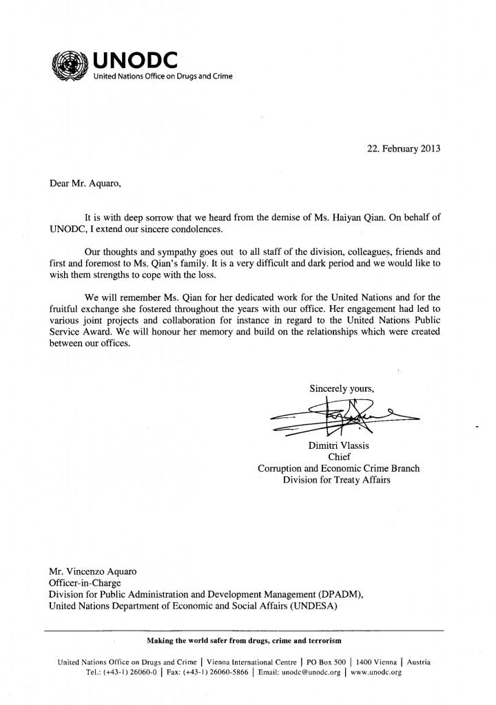 Condolence letter_UNODC