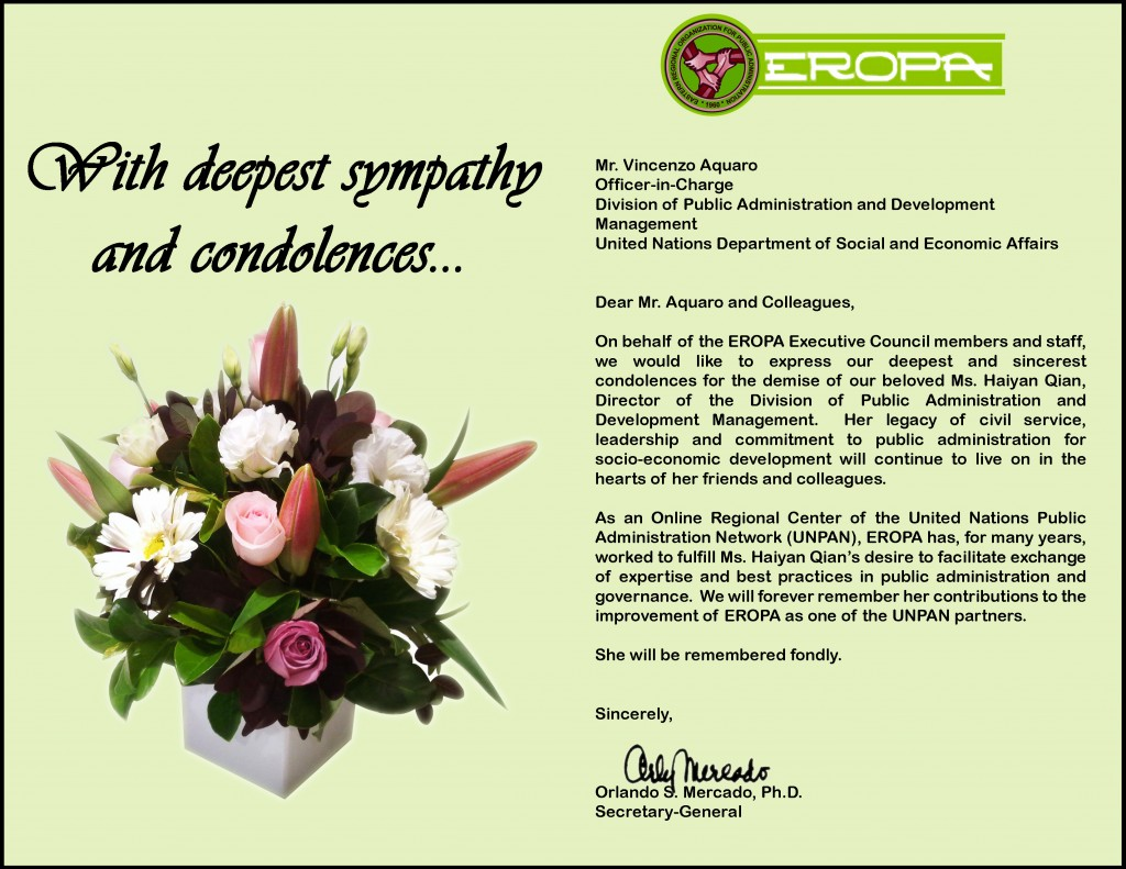 Condolences from EROPA