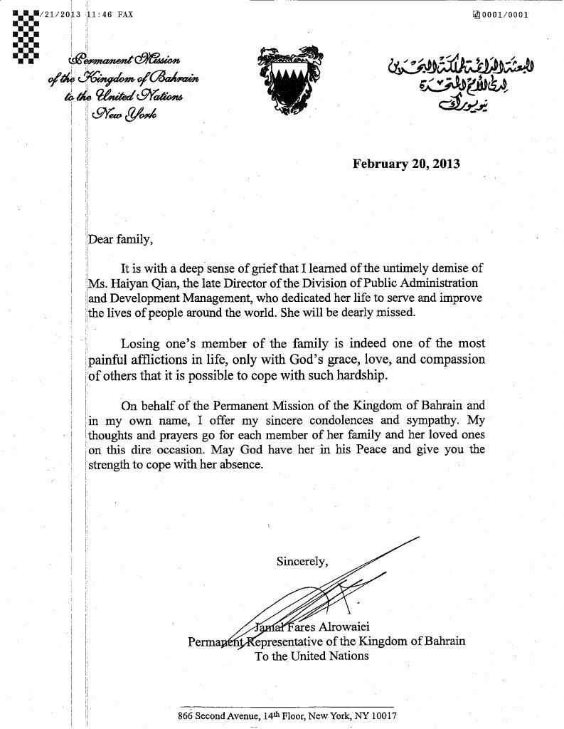 Letter of Condolence_Bahrain